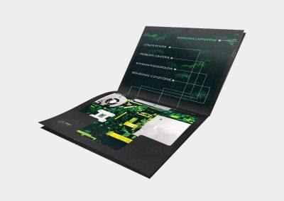 Katalog prostokątny w formie laptopa dla firmy PCLAP-ALERT